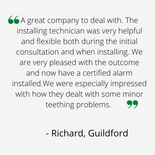 A great company to deal with. The installing technician was very helpful and flexible both during the initial consultation and when installing. We are very pleased with the outcome and now have a certified alarm installed.We were especially impressed with how they dealt with some minor teething problems.