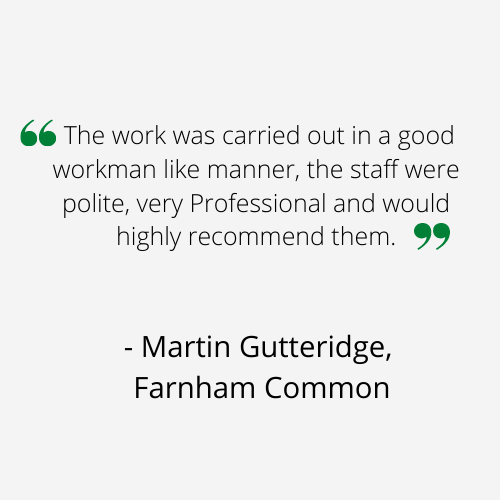 The work was carried out in a good workman like manner, the staff were polite, very Professional and would highly recommend them