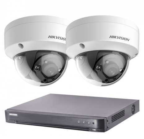 2 Outdoor 2MP Dome Cameras with DVR, 20m Night Vision