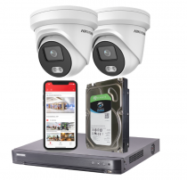 2 Hikvision 4MP ColorVu IP Security Cameras with Installation