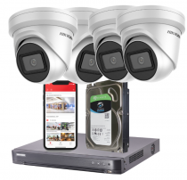 4 Hikvision 4K Ultra-HD IP Security Cameras with Installation