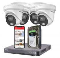 4 Hikvision  4MP ColorVu IP Security Cameras with Installation