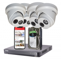 4 Hikvision IP Darkfighter Security Cameras with Installation