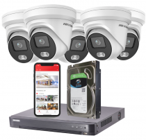 5 Hikvision 4MP ColorVu IP Security Camera System with Installation